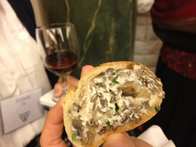 Wellesley College Alumnae Achievement Award reception, creamy mushroom spread on crostini