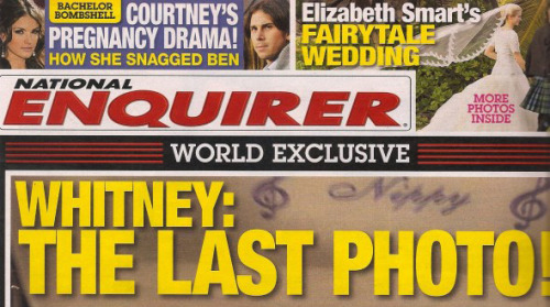 The National Enquirer isn't above running photos of famous celebrities in their coffin at a private funeral. (Go find it yourself if you wanna see it.) Should they have run a photo of Whitney Houston from her funeral?