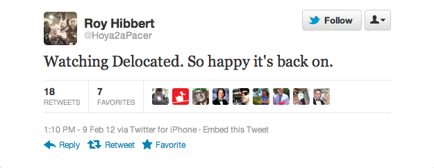 Roy Hibbert is a cool dude with great taste.