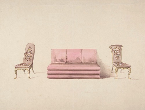 Unknown (British) Design for Pink Sofa and Mauve Chairs 19th century