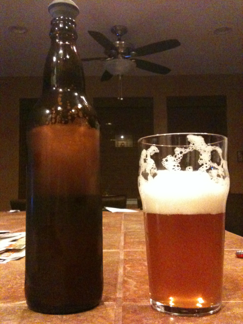 My second favorite hobby after bbq is brewing beer. This is an IPA I made last summer. 5 months in the bottle and it's tasting really good. Goes well with Top Chef.