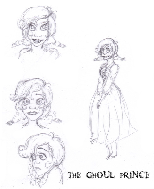 "These are sketches of a main charachter that I designedfor a project called ""The Ghoul Prince."" It is concept art for the charachter Miranda. The female protagonist. I'll bring more colored pictures and bring more details about The Ghoul Prince in later posts."