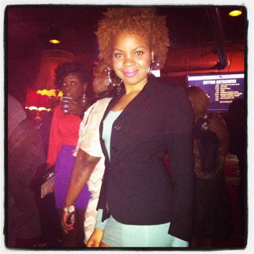 Two-Strand Twist Out. Pardon the people in the background, I was out with a friend at a concert. I was told by a friend of another product I can use for Twist-Strand Twists and I tried them. I really liked the results!  Here's what I used: Carol's Daughter Macadamia Heat Setting Foam and Carol's Daughter Healthy Hair Butter.  The healthy hair butter was for moisture and to keep my hair soft. The heat setting foam is actually more like a mousse. It holds hair in place minus the crunch. I prefer these two products instead of my previous combination of the Loc Butter and Healthy Hair Butter. The combination left my hair greasy and heavy. The two products are very heavily concentrated with essential oils. Therefore used together they are just too much, even for my thick hair.  -Live with your eyes open, S.