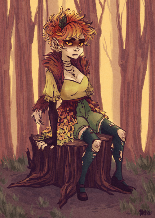 New character design for senior thesis, a female interpretation of Autumn. I greatly enjoy drawing hair that defies the laws of physics.