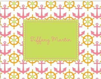 Anchor stationery from Lemon Tree Paperie in orange, pink and green in preparation for spring. Add your name or monogram for an extra personal touch.