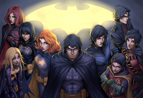 elegyforafez:  setsunamuraki:  Bat Family unmasked!  This is a great picture.  I like the subtle anime stylings. (PS: Tim looks kind of like Mikado Ryuugamine. o_o)  Can we all just agree Damian is an adorable little shit?