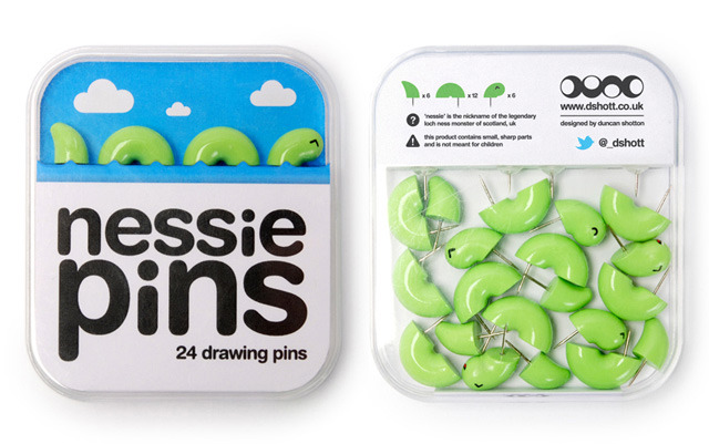 thillythenny:  Nessie Pins: a set of thumb tacks made to look like the Loch Ness Monster