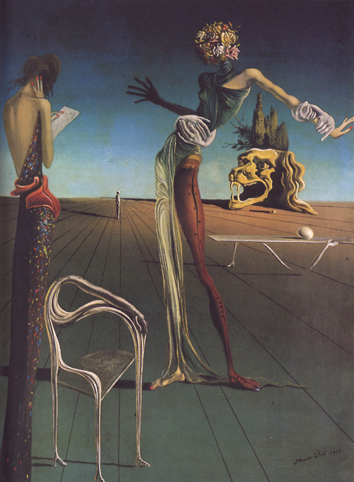 Salvador Dali, Woman With a Head of Roses, 1935.  One must ALWAYS reblog Dali.