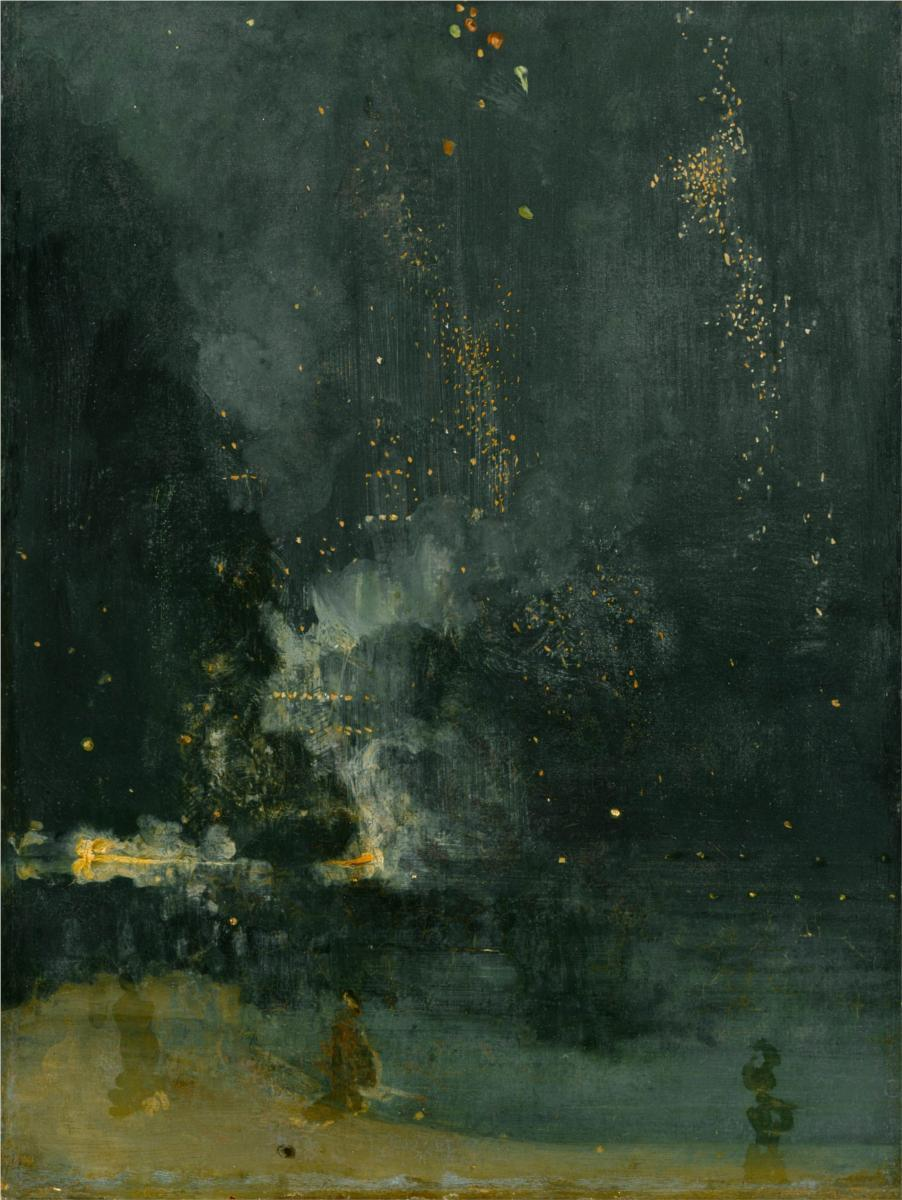 hankchinaski:  Nocturne in Black and Gold, the Falling Rocket James Abbott McNeill Whistler1875Oil on PanelDetroit Institute of Arts