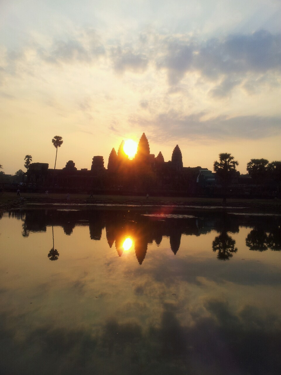 Sun rising at Angkor Wat.