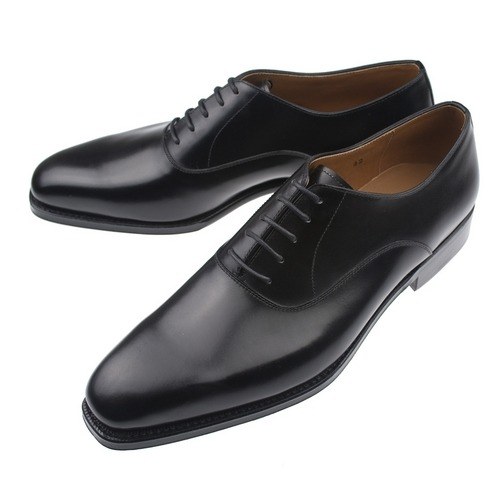 Plaintoe balmoral ($350), the only black shoe you'll ever need. Even more formal than a captoe, the plaintoe balmoral is the only shoe that can be worn with both a tuxedo and a conventional suit. Appropriate for black tie, job interviews, funerals, and everyday city wear.