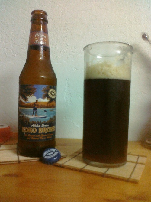 Kona Brewing Company's Aloha Series: Koko Brown Appearance: A dark, warm brown. Reminiscent of cola. Smell: Roasted coconut with a hint of bitterness. Taste: An obvious beer flavor. Not much coconut at all. Mouthfeel: Like Italian cream soda. Drinkability: A good, solid beer. It can stand on its own or be paired with foods, particularly sweets or meats. I'd seek it out for a BBQ. For Jesus: Koko Brown reminds me that I was born and raised in Hawaii, bringing me back to the wonderful times I've had on the island. The beer itself is bitter, but the hint of rich coconut harkens to the good times I've been blessed with in life, making the drinking experience quite pleasant. TL;DR: Good. Jesus likes coconut.