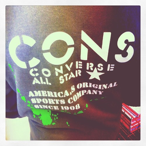 CONS tee I spotted in line. #Chucks #converse #justchuckinit  (Taken with instagram)
