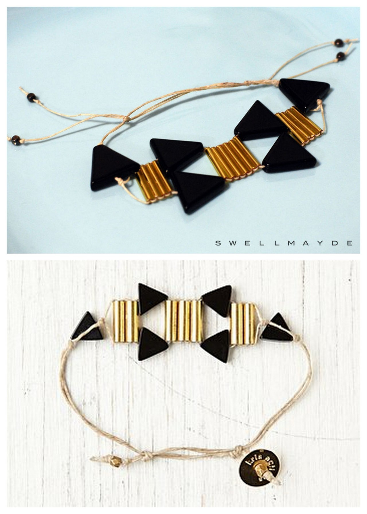 truebluemeandyou:  DIY Inspired Socorro Deco Bracelet by Free People. TOP PHOTO: DIY, BOTTOM PHOTO: $68 Socorro Deco Bracelet here. Wonderfully clear tutorial from swellmayde here.