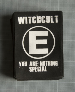 Witch Cult - One colour, white print onto black patch fabric.