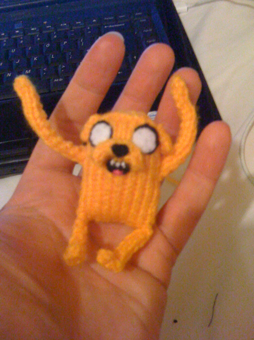 Tired of the gun show? Here's a small Jake I knitted for a friend for him to give to his friend for her birthday.