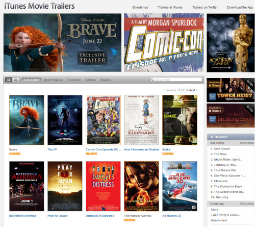 Today's Apple Trailers Homepage featuring Brave (x)