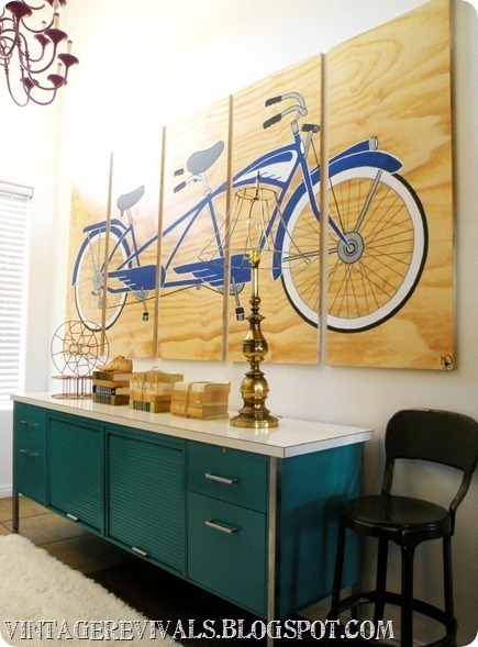 DIY Inspiration Tandem Bicycle Painted on Plywood. Stained blond 8 by 4 foot piece of veneered plywood was used for this custom piece by Olson Ink here. More photos at Vintage Revivals here.
