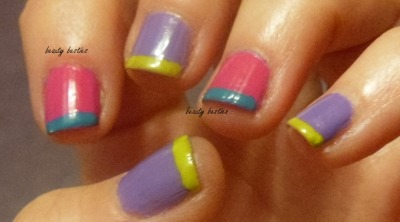 #nails #nailpolish #manicure #mani #nailart #opi Planks a Lot, Kiss My Tulips, Did It On 'Em, and Fly – all by OPI (Pirates of the Caribbean, Holland, and Nicki Minaj collections.)
