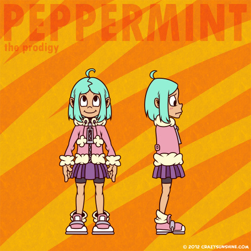 Updated Crazy Sunshine character reference sheet for 2012: Peppermint This new style should start taking place in the comic in March 2012. No changes from previous sketch.