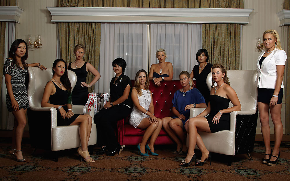 From left to right: I.K. Kim, Michelle Wie, Morgan Pressel, Yani Tseng, Beatriz Recari, Melissa Reid, Suzann Pettersen, Se Ri Pak, Paula Creamer and Natalie Gulbis during a welcome reception for this week's HSBC Women's Champions in Singapore. RECAP: Stanford leads after the first roundVAN SICKLE: Gulbis talks about posing for SI Swimsuit (Credit: Scott Halleran/Getty Images)