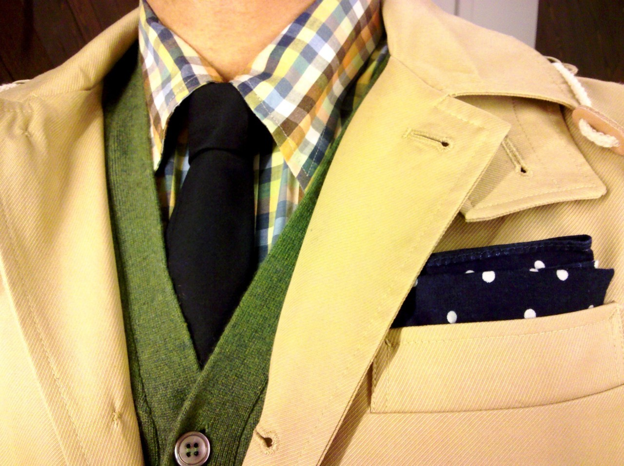 todaystie:  Trovata shirt -Thom Browne tie- Barneys NY cardigan- Shipley & Halmos trench coat- The Hill Side handkerchief
