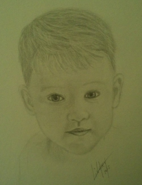 My drawing, pencil portrait of little man Bryson I need to learn to slow down, i rush and it looks like shit. :(