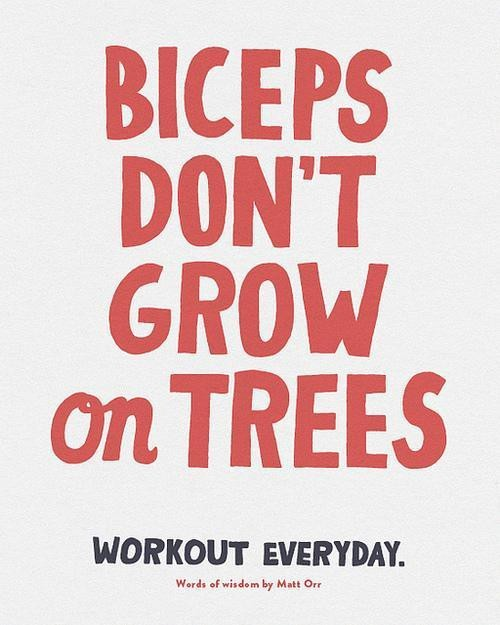 """Biceps don't grow on trees.""  Workout everyday."