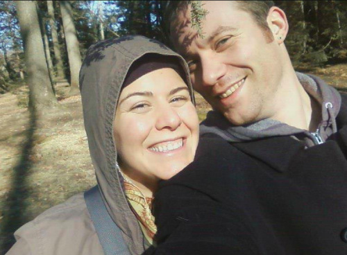 londonandrews:  Kurt and I lost in the woods… :  )  Your hood looks a bit like a nun's habit.