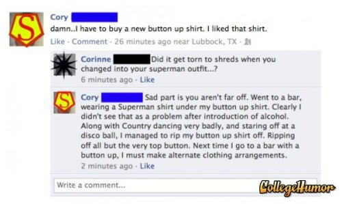 Superman Button-Down Shirt   His kryptonite is attention.