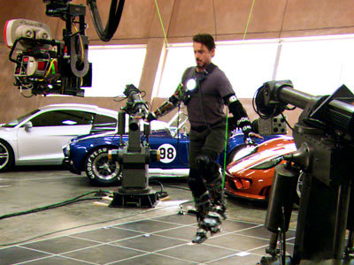 Behind the scenes picture of Robert Downey Jr. on set of Iron Man
