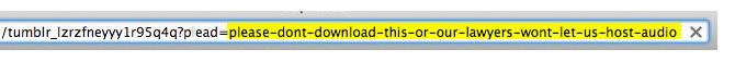 littlebigdetails:  Tumblr - When viewing audio file you are asked to not download the file. /via Keenan  Pretty clever.
