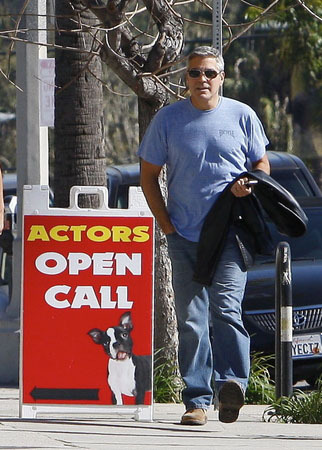 George Clooney is currently up for a Best Actor Academy Award, so it's pretty funny that he was spotted outside of an open call for actors on Thursday. We don't think he actually went inside. For more pics of George, go to x17online.com.