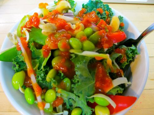 Today's lunch:Salad- Kale Cabbage Mushrooms Snow Peas Edamame Red Bell Pepper Red Onion CashewsDressing- Carrot puree Pear Juice Peach Juice Ginger Puree Tamari Rice Wine Vinegar Apple Cider Vinegar Sesame Seeds