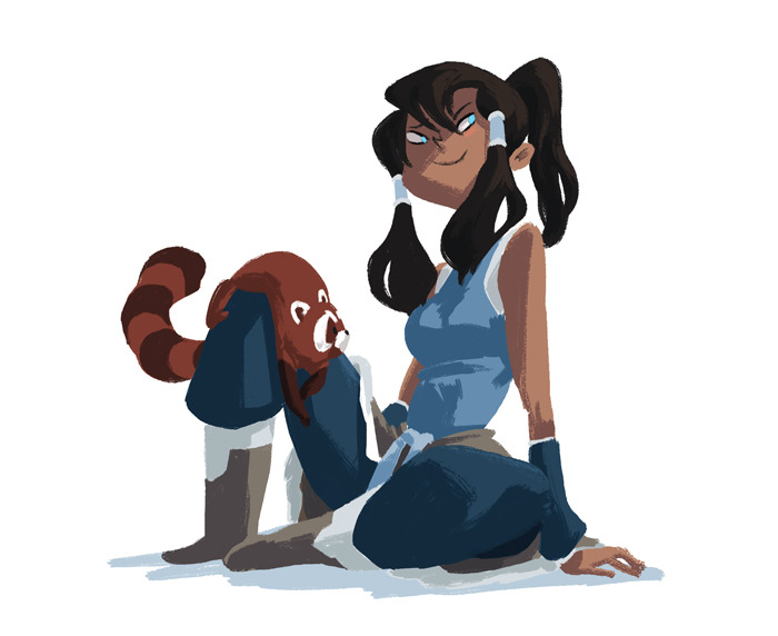 This is a lovely illustration done by Evon Freeman, who worked on Korra as part of Nickelodeon's new artist fellowship program (sort of like a paid internship) last year. You can see her amazing work here and here.