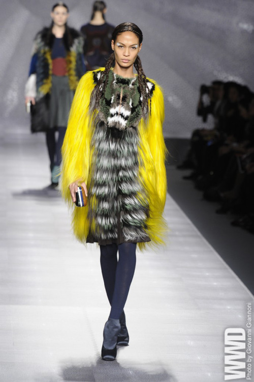 "Fendi RTW Fall 2012 That Karl Lagerfeld has a lot going on has become a fashion truism — one  never truer than on his fall Fendi runway. Program notes suggested ""the  warm glow before snow"" and ""infinite, innovative interplay of textures,  colours and fabrics."" If the former confused — no snow sirens here —  the latter proved spot-on, as Lagerfeld sent out a lineup that could not  have been more complicated or, in this age of Minimalist worship,  bolder. The sheer effort intrigued, and much of it looked great, though  the move from runway to reality will likely involve some simplification."