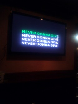 Rick Rolling a birthday song at kareoke