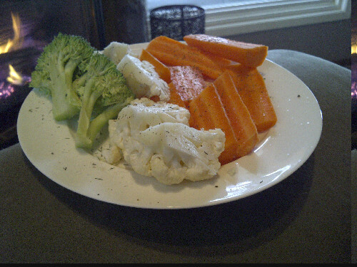 Vegan Lunchtime. Vegetables with salt, pepper and dill.