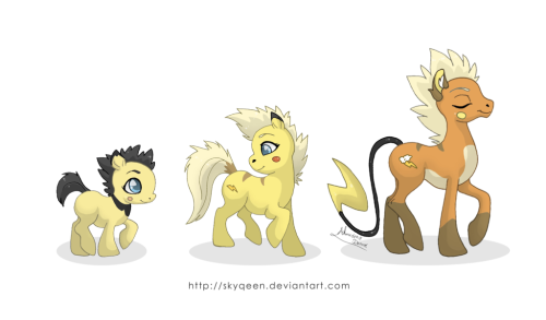 Haha, Pikachu family in a My Little Pony format. Funny