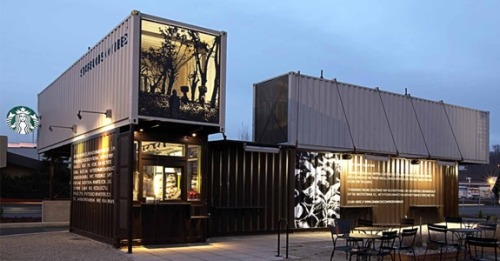 Starbucks new store created from re-purposed shipping containers!