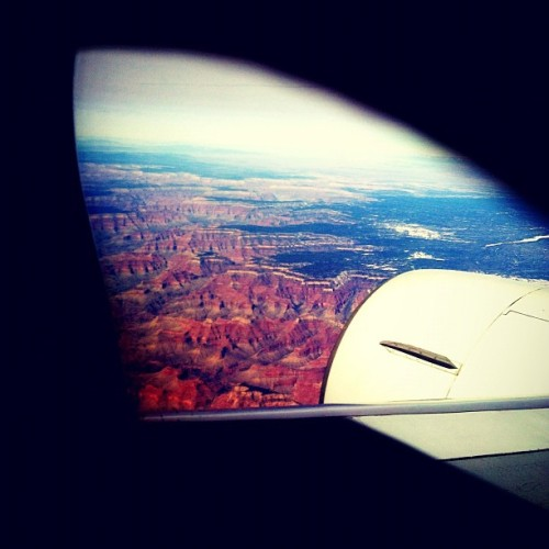 Flying over the Grand Canyon, California-bound.  (Taken with instagram)