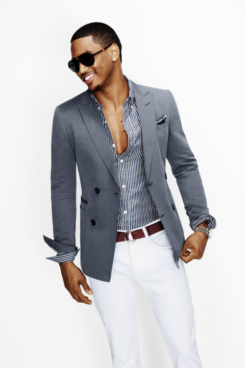 fuckyeahtreysongzyupp:  Trey Songz For GQ - March 2012 (x4)  Forget Trey, his outfit is lovely. I love the combination down to the color of the belt and vertical stripes and the fit as well. Grey, white and burgundy. Nice and clean. If I saw a man wearing this I'd turn my head.