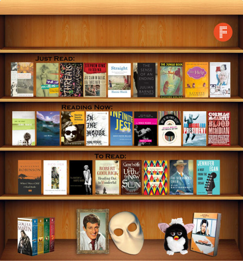 russmarshalek:  The Flavorpill Feb bookshelf   Some fine looking books on those shelves. Of course, I'm partial to Amelia Gray's THREATS and Didion's Slouching Towards Bethlehem.
