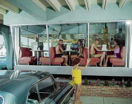 fuckyeahvintage-retro:  Coffee Shop in Wildwood, New Jersey (1960s)