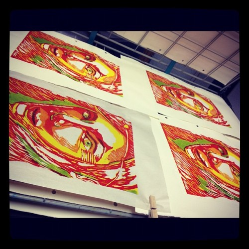 in progress of my relief prints, still have to do blue and violet. maybe a bit more green too.