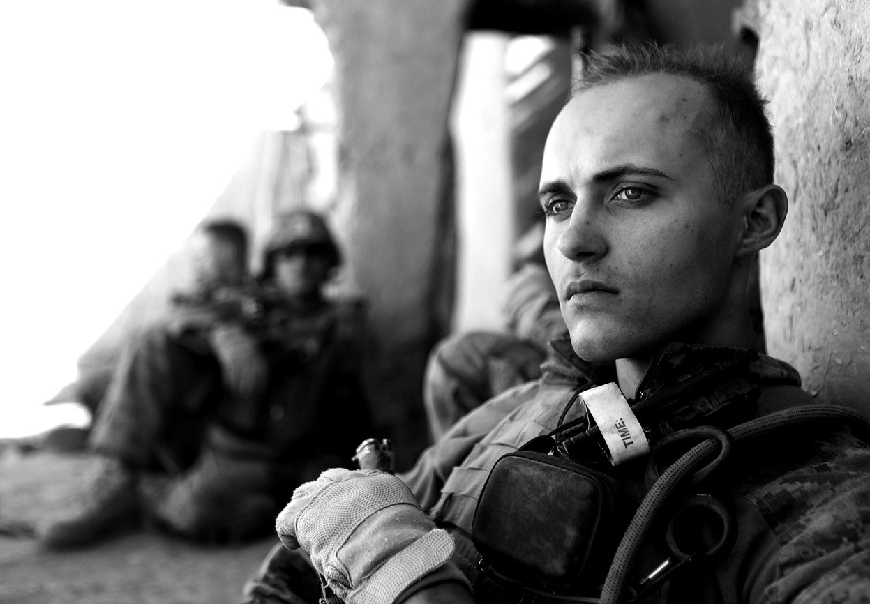 From Afghanistan: January 2012, one of 42 photos, part of an ongoing monthly series on Afghanistan. Here, the men of 1st Battalion, 6th Marine Regiment, during an operation near the end of their third deployment in three years in Afghanistan. They were securing route 611, which runs Kajaki Sofla, an area that had long been a safe haven for insurgent sub-commanders and for arms and drug trafficking. (Cpl. James Clark/USMC)