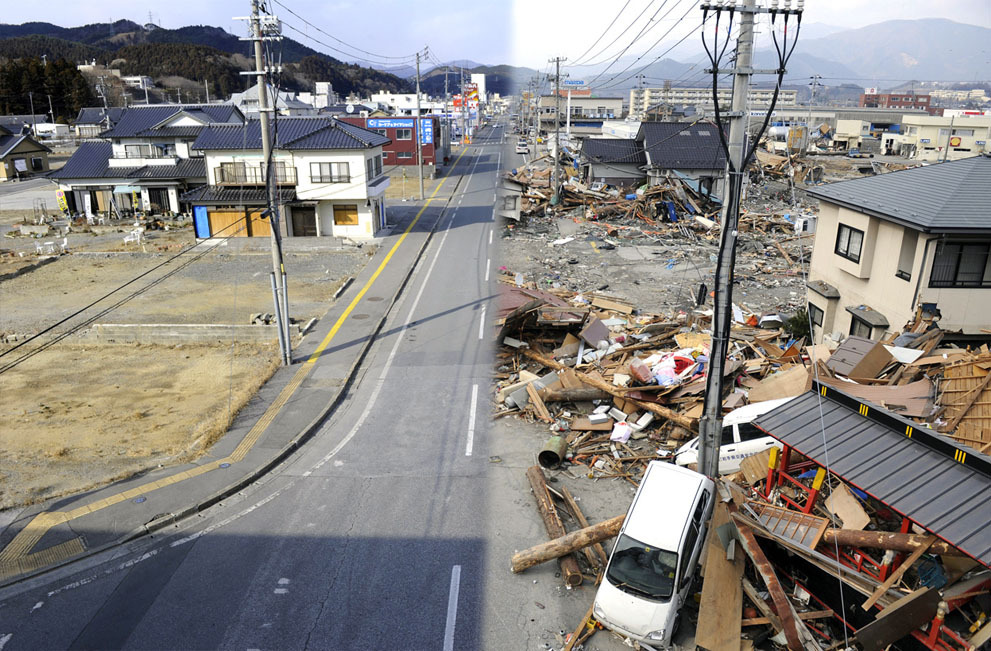 theatlantic:  In Focus: Before and After Japan's Earthquake  This combination of pictures shows the view of a tsunami hit area of Ofunato, Iwate prefecture on March 14, 2011 (right side) and the same scene as it appears on January 15, 2012 (left side). March 11, 2012 will mark the first anniversary of the massive tsunami that pummeled Japan. See more. [Image: Toshifumi Kitamura/AFP/Getty Images]