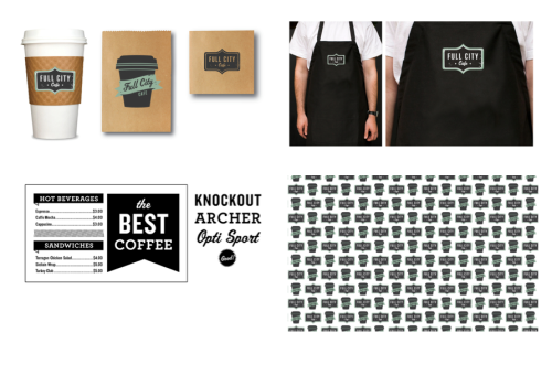 Full City Cafe Branding - I really like the simple branding of this cafe, the brand is consistent and minimal in design but without looking too corporate with I think would create the wrong image and the little use of green here and there really makes elements like the logo stand out.