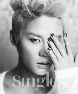 Not just hot black nails—they're glitterblack nails. Junsu is making that blonde up-do work, and though this recalls a favorite photo of TOP, probably there are no two k-pop stars so dissimilar. It works for both of them on totally different sides of the spectrum. Click through to see allkpop.com's collection of all the photos in this shoot! It features some fun grunge jeans and jackets of several kinds. Junsu is looking ridiculously good, but really, are we surprised anymore?