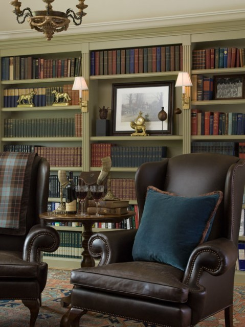 "A timeless, classic ""Ralph Lauren"" inspired home library (via Kathleen Burke Design)"
